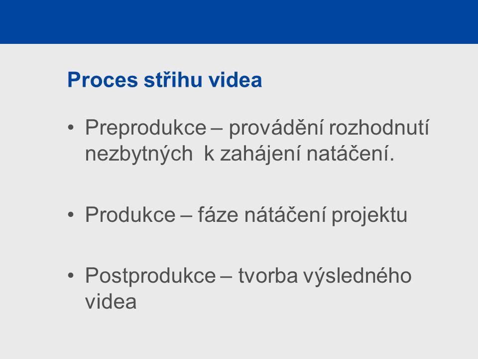 Proces střihu videa Preprodukce – provádění rozhodnutí nezbytných k zahájení natáčení.
