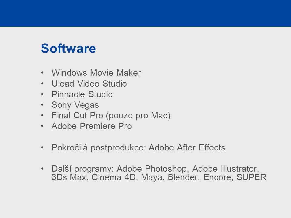 Software Windows Movie Maker Ulead Video Studio Pinnacle Studio Sony Vegas Final Cut Pro (pouze pro Mac) Adobe Premiere Pro Pokročilá postprodukce: Adobe After Effects Další programy: Adobe Photoshop, Adobe Illustrator, 3Ds Max, Cinema 4D, Maya, Blender, Encore, SUPER