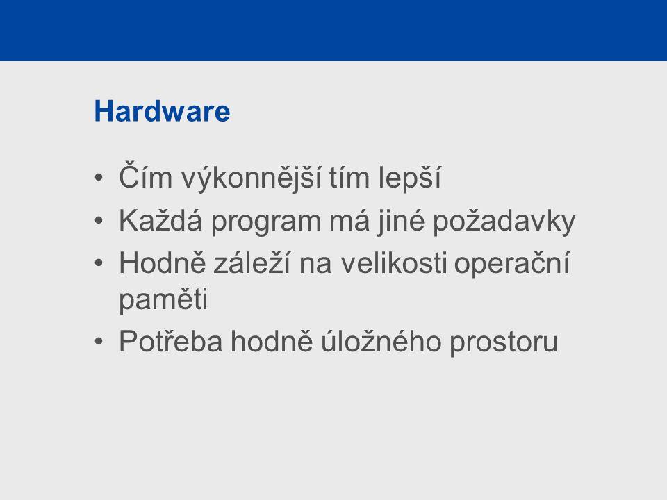 Hardware Čím výkonnější tím lepší Každá program má jiné požadavky Hodně záleží na velikosti operační paměti Potřeba hodně úložného prostoru