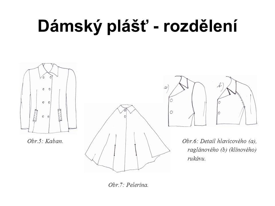 Dámský plášť - rozdělení Obr.5: Kaban.