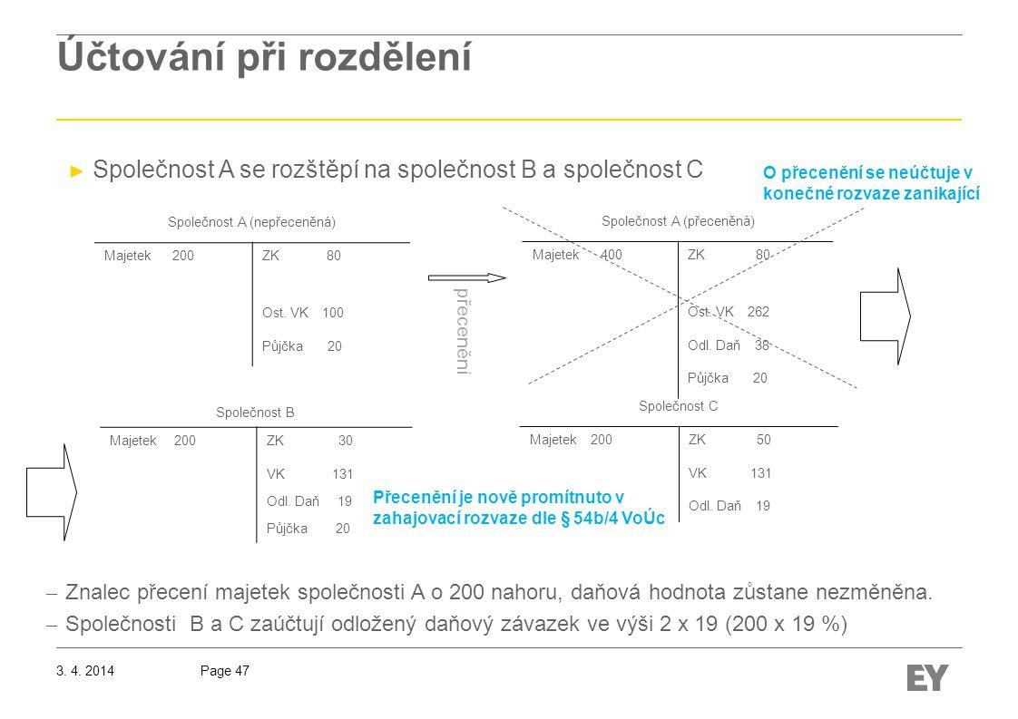 Page 473.4. 2014 Účtování při rozdělení Společnost A (přeceněná) Majetek 400ZK 80 Ost.