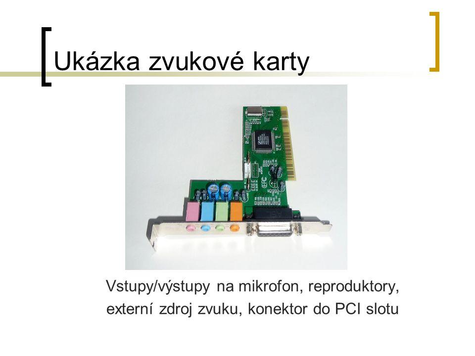 Ukázka zvukové karty Vstupy/výstupy na mikrofon, reproduktory, externí zdroj zvuku, konektor do PCI slotu