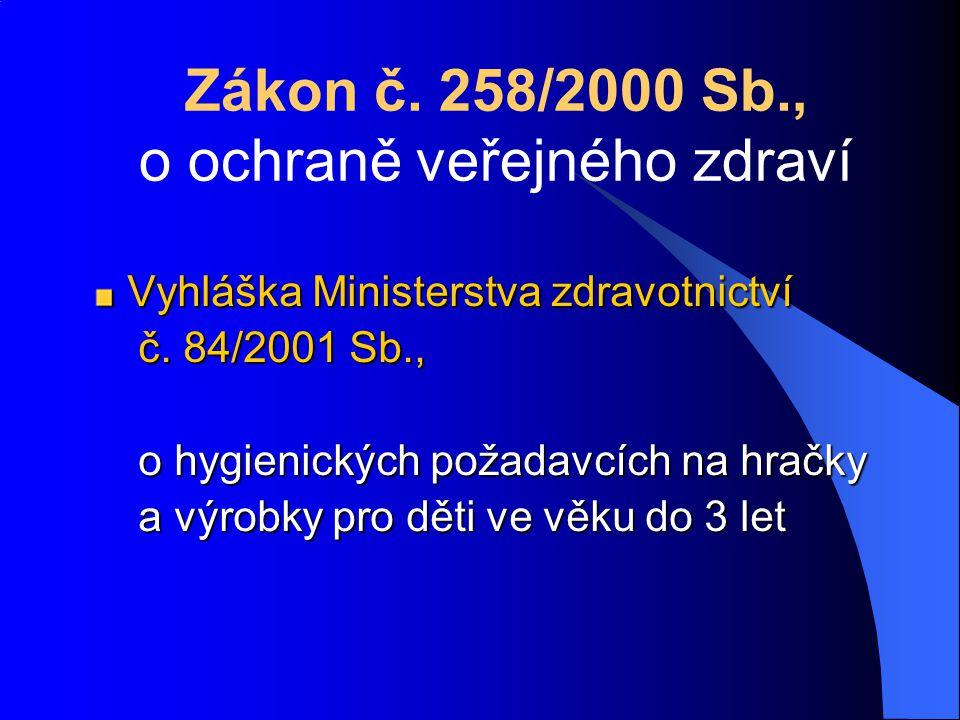 Zákon č. 258/2000 Sb., o ochraně veřejného zdraví Vyhláška Ministerstva zdravotnictví č.