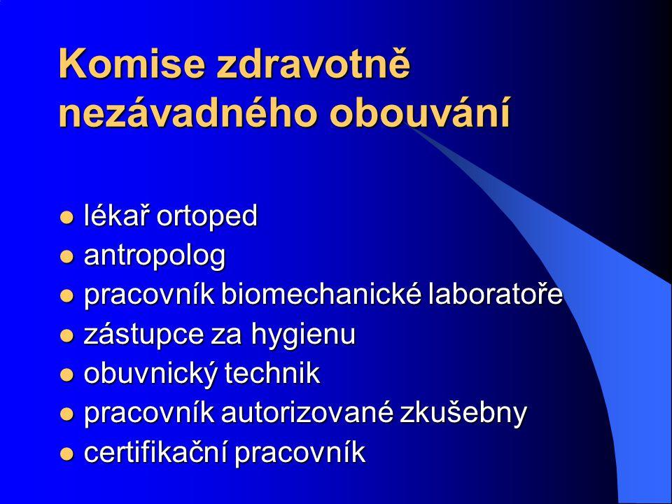 Komise zdravotně nezávadného obouvání lékař ortoped lékař ortoped antropolog antropolog pracovník biomechanické laboratoře pracovník biomechanické laboratoře zástupce za hygienu zástupce za hygienu obuvnický technik obuvnický technik pracovník autorizované zkušebny pracovník autorizované zkušebny certifikační pracovník certifikační pracovník