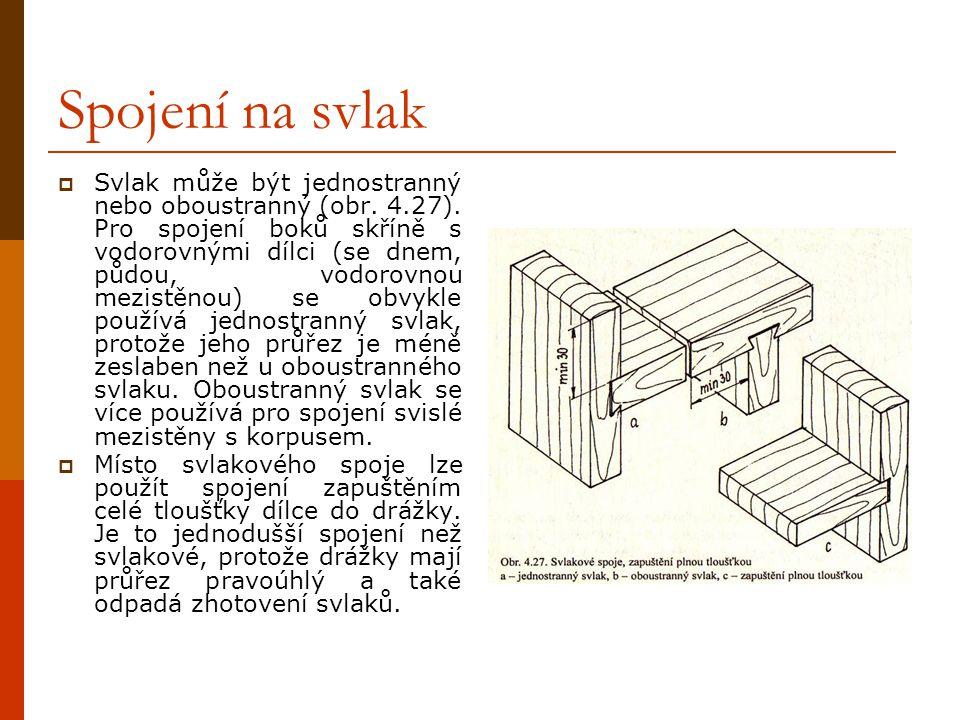 4.7.2 Spojení na svlak SSvlakové spoje se používají u desek z masivního dřeva jako rohové i středové spoje a především ke zpevňování spárovek a jeji