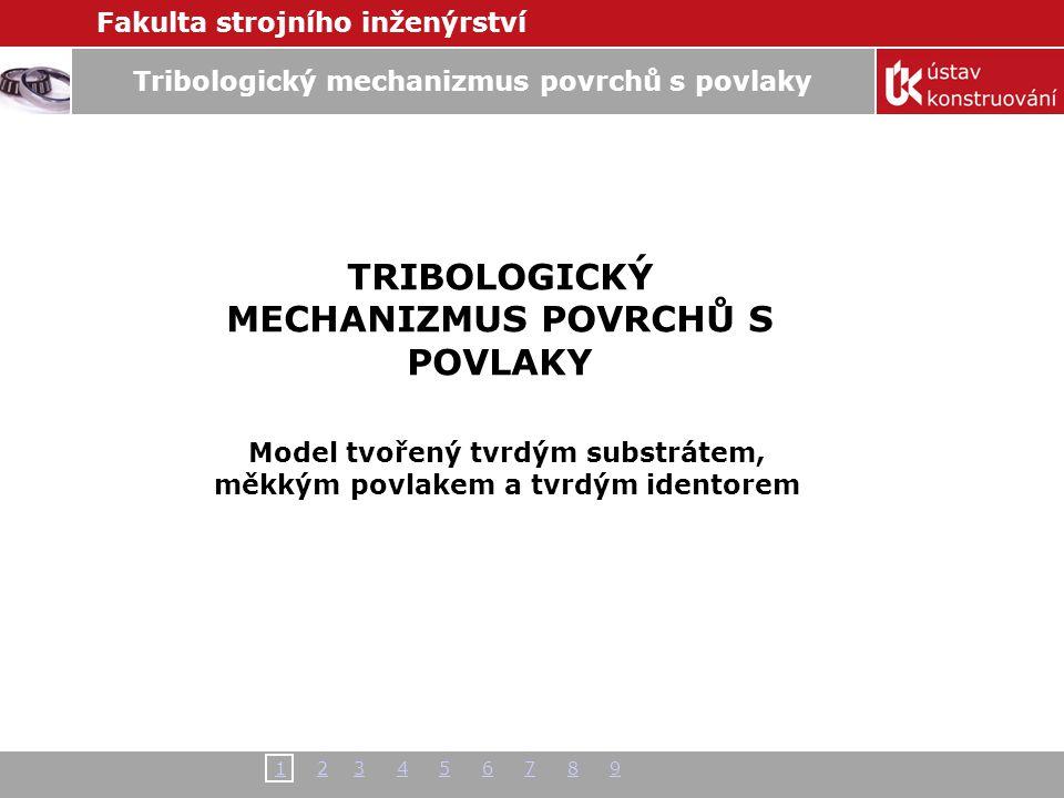 Fakulta strojního inženýrství 11 2 3 4 5 6 7 8 92345678 Tribologický mechanizmus povrchů s povlaky TRIBOLOGICKÝ MECHANIZMUS POVRCHŮ S POVLAKY Model tv