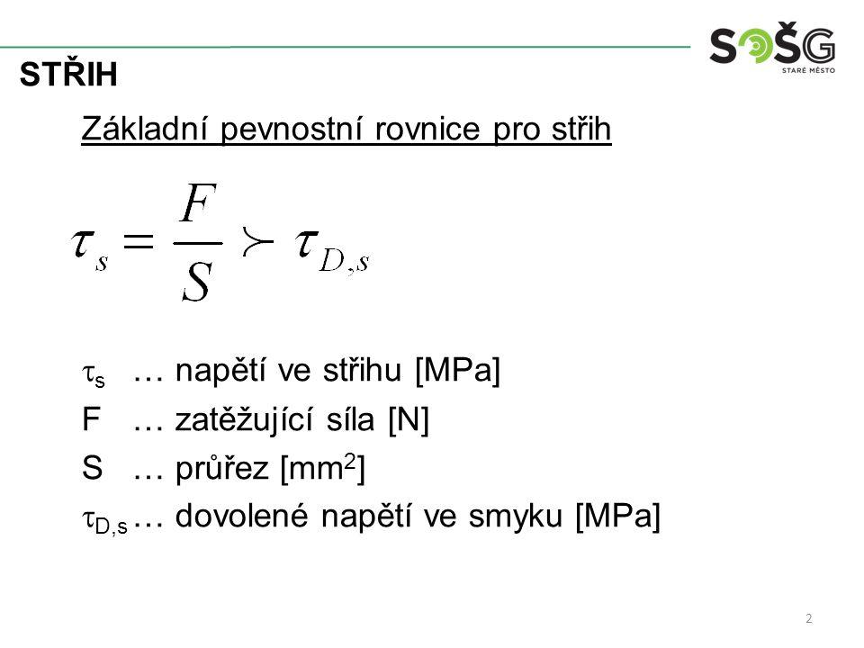 STŘIH Základní pevnostní rovnice pro střih  s … napětí ve střihu [MPa] F… zatěžující síla [N] S… průřez [mm 2 ]  D,s … dovolené napětí ve smyku [MPa