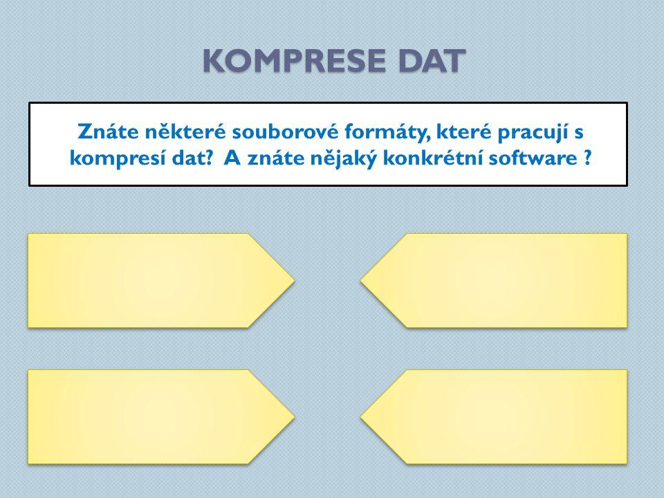 KOMPRESE DAT Znáte některé souborové formáty, které pracují s kompresí dat.