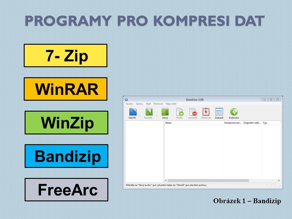 PROGRAMY PRO KOMPRESI DAT 7- Zip WinRAR FreeArc WinZip Bandizip Obrázek 1 – Bandizip