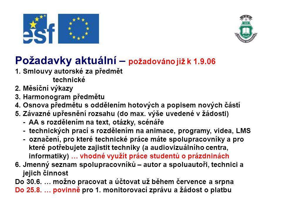Požadavky aktuální – požadováno již k 1.9.06 1. Smlouvy autorské za předmět technické 2.