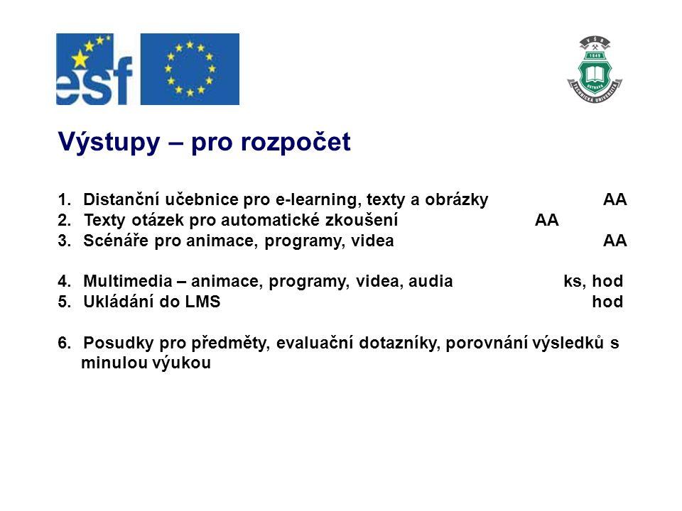Výstupy – pro rozpočet 1.Distanční učebnice pro e-learning, texty a obrázkyAA 2.Texty otázek pro automatické zkoušeníAA 3.Scénáře pro animace, programy, videaAA 4.Multimedia – animace, programy, videa, audia ks, hod 5.Ukládání do LMS hod 6.Posudky pro předměty, evaluační dotazníky, porovnání výsledků s minulou výukou