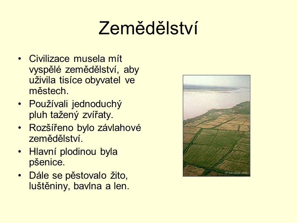 Zemědělství Civilizace musela mít vyspělé zemědělství, aby uživila tisíce obyvatel ve městech. Používali jednoduchý pluh tažený zvířaty. Rozšířeno byl
