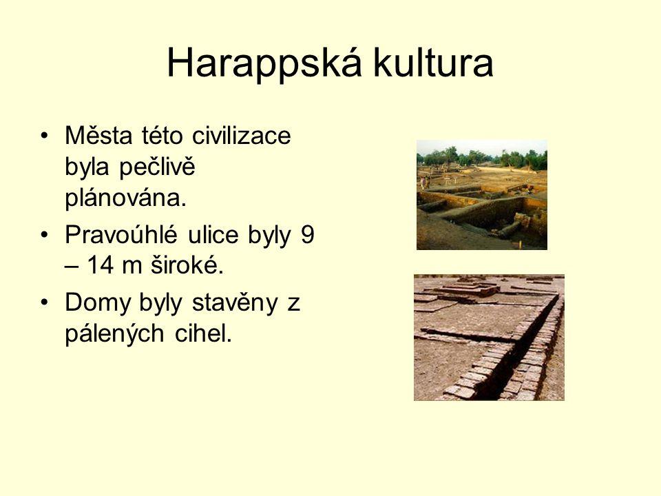 Harappská kultura Města této civilizace byla pečlivě plánována. Pravoúhlé ulice byly 9 – 14 m široké. Domy byly stavěny z pálených cihel.