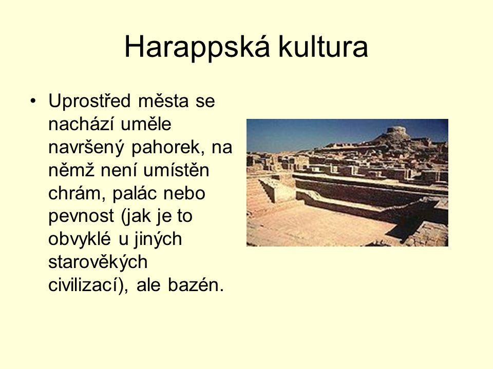 Harappská kultura Uprostřed města se nachází uměle navršený pahorek, na němž není umístěn chrám, palác nebo pevnost (jak je to obvyklé u jiných starov
