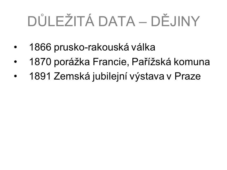 DŮLEŽITÁ DATA – DĚJINY 1866 prusko-rakouská válka 1870 porážka Francie, Pařížská komuna 1891 Zemská jubilejní výstava v Praze