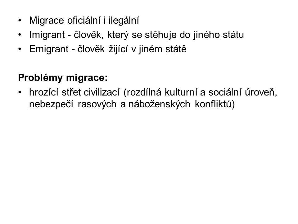 Migrace oficiální i ilegální Imigrant - člověk, který se stěhuje do jiného státu Emigrant - člověk žijící v jiném státě Problémy migrace: hrozící střet civilizací (rozdílná kulturní a sociální úroveň, nebezpečí rasových a náboženských konfliktů)