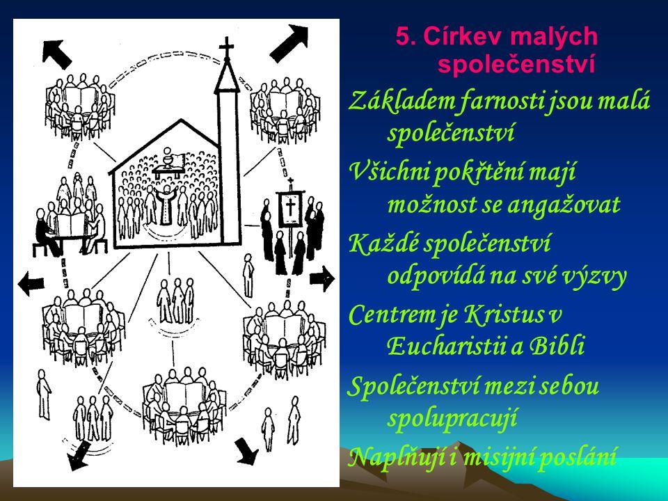 5. Církev malých společenství Základem farnosti jsou malá společenství Všichni pokřtění mají možnost se angažovat Každé společenství odpovídá na své v