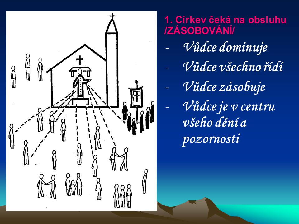 1. Církev čeká na obsluhu /ZÁSOBOVÁNÍ/ - Vůdce dominuje - -Vůdce všechno řídí - -Vůdce zásobuje - -Vůdce je v centru všeho dění a pozornosti