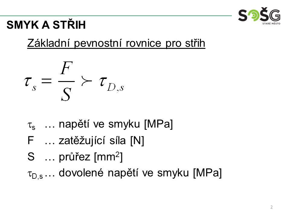 SMYK A STŘIH 3 Aplikace výpočtů na smyk Kontrola napětí ve smyku známe- zatížení F - průřez S (popř.