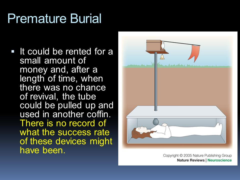 Premature Burial  It could be rented for a small amount of money and, after a length of time, when there was no chance of revival, the tube could be