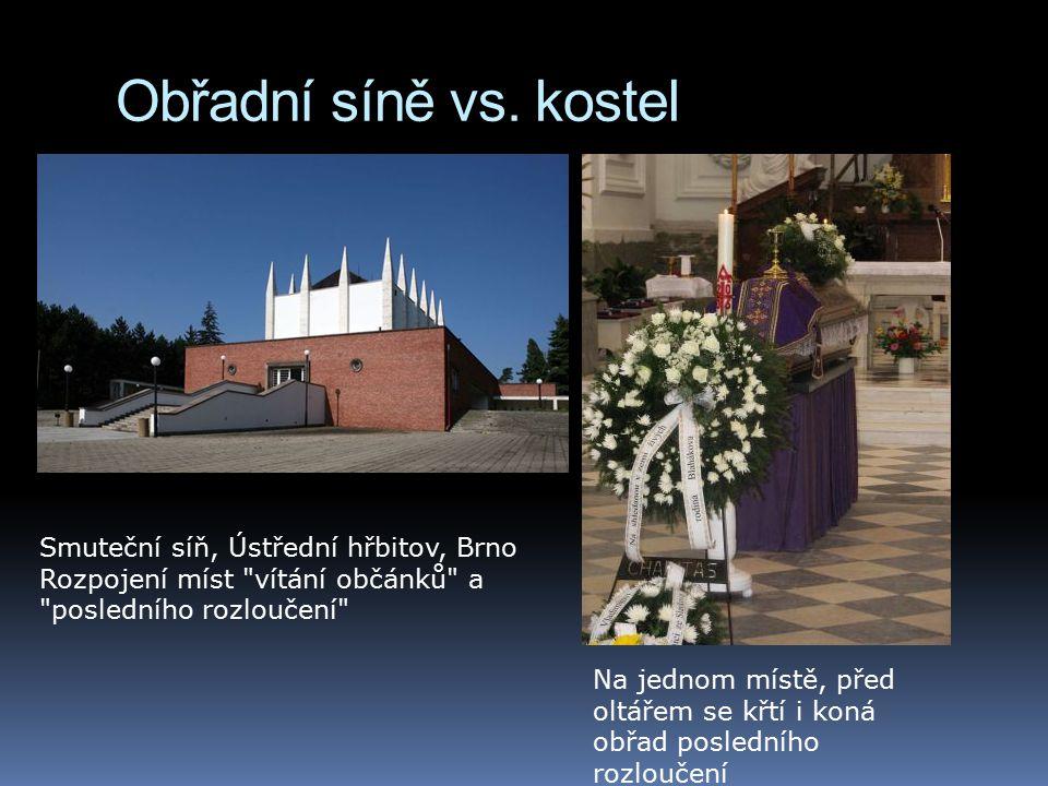 Obřadní síně vs. kostel Na jednom místě, před oltářem se křtí i koná obřad posledního rozloučení Smuteční síň, Ústřední hřbitov, Brno Rozpojení míst