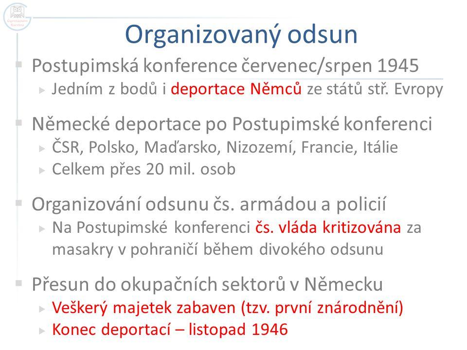 Organizovaný odsun  Postupimská konference červenec/srpen 1945  Jedním z bodů i deportace Němců ze států stř. Evropy  Německé deportace po Postupim