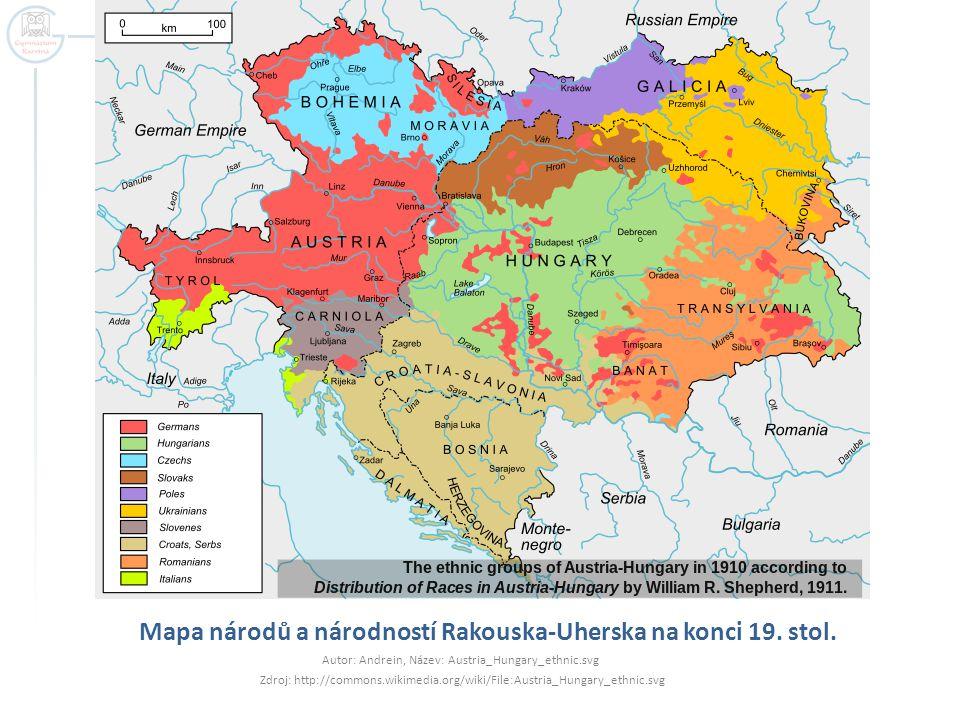 Mapa národů a národností Rakouska-Uherska na konci 19. stol. Autor: Andrein, Název: Austria_Hungary_ethnic.svg Zdroj: http://commons.wikimedia.org/wik