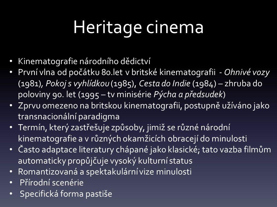 Heritage cinema Kinematografie národního dědictví První vlna od počátku 80.let v britské kinematografii - Ohnivé vozy (1981), Pokoj s vyhlídkou (1985), Cesta do Indie (1984) – zhruba do poloviny 90.