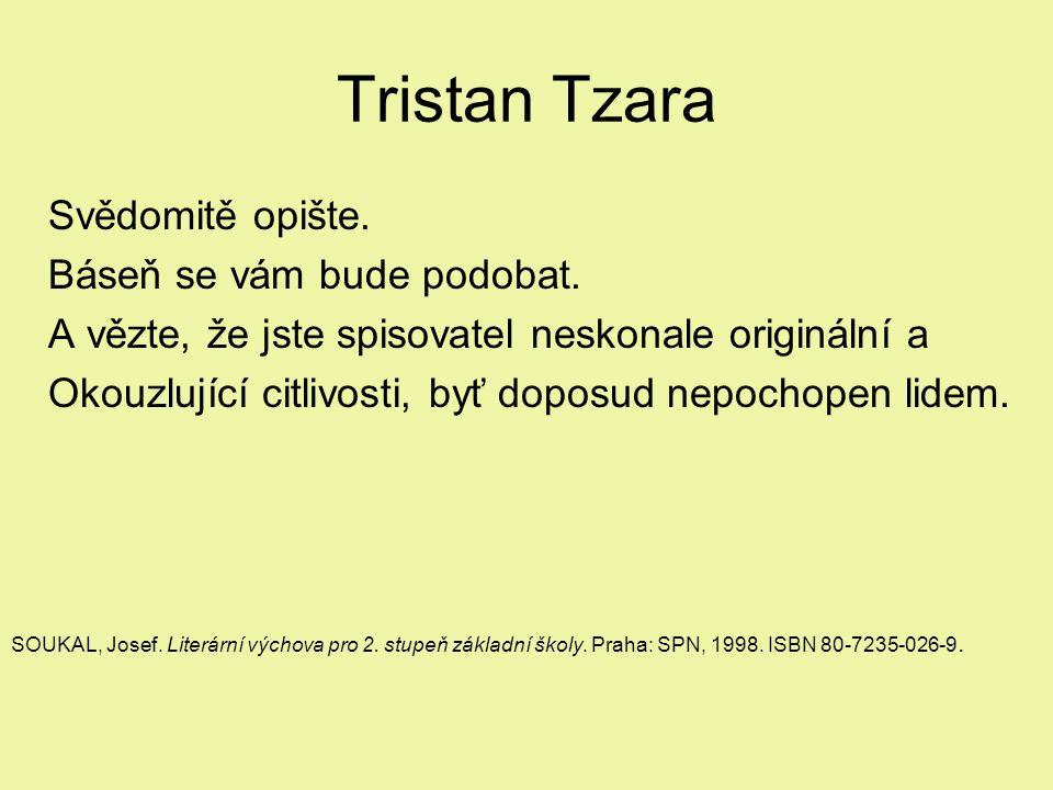Tristan Tzara Svědomitě opište. Báseň se vám bude podobat. A vězte, že jste spisovatel neskonale originální a Okouzlující citlivosti, byť doposud nepo