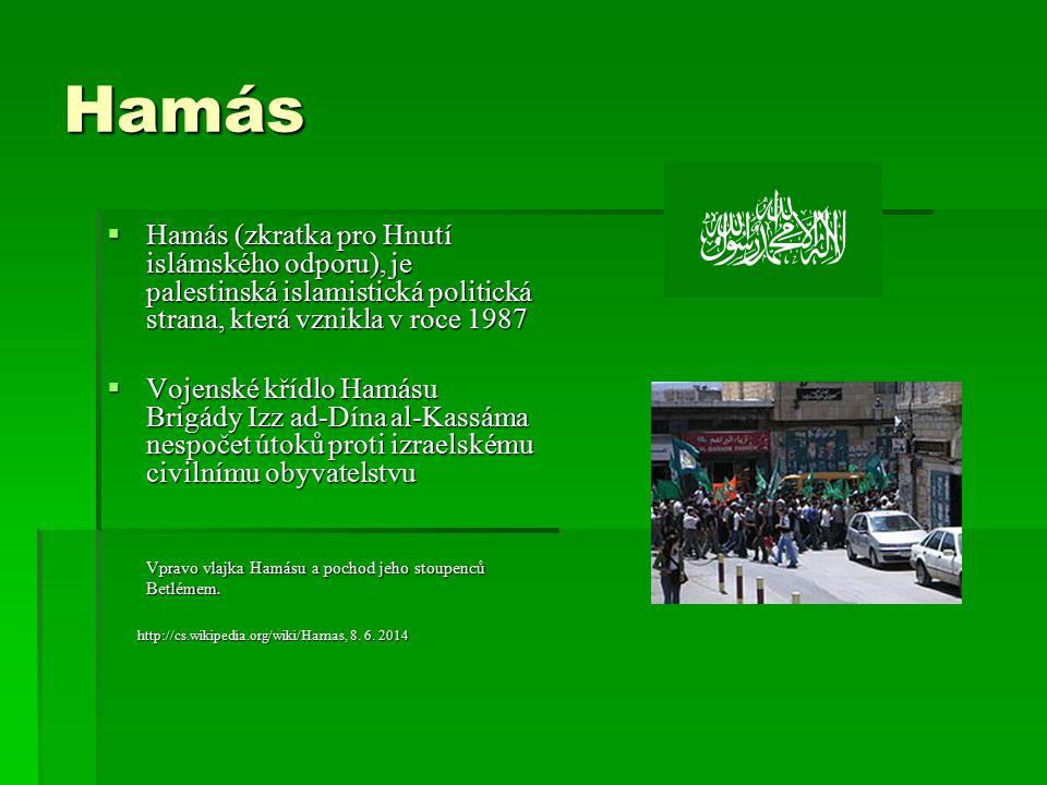 Hamás  Hamás (zkratka pro Hnutí islámského odporu), je palestinská islamistická politická strana, která vznikla v roce 1987  Vojenské křídlo Hamásu