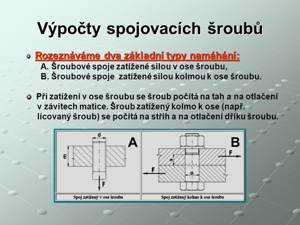 Výpočty spojovacích šroubů Rozeznáváme dva základní typy namáhání: Rozeznáváme dva základní typy namáhání: A. Šroubové spoje zatížené silou v ose šrou