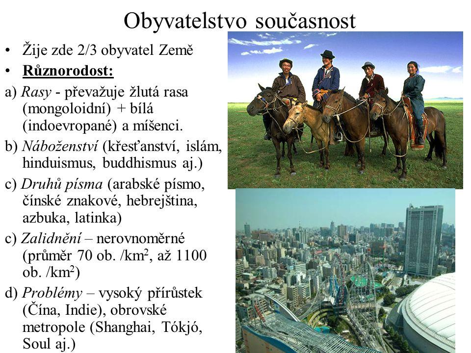 Obyvatelstvo současnost Žije zde 2/3 obyvatel Země Různorodost: a) Rasy - převažuje žlutá rasa (mongoloidní) + bílá (indoevropané) a míšenci. b) Nábož