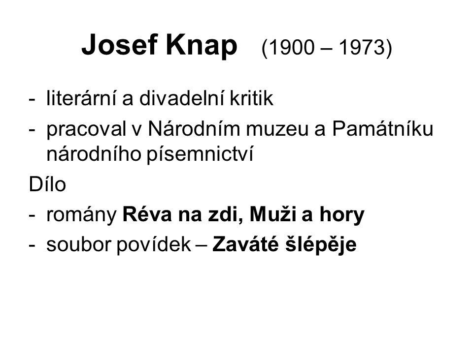 Josef Knap (1900 – 1973) -literární a divadelní kritik -pracoval v Národním muzeu a Památníku národního písemnictví Dílo -romány Réva na zdi, Muži a hory -soubor povídek – Zaváté šlépěje
