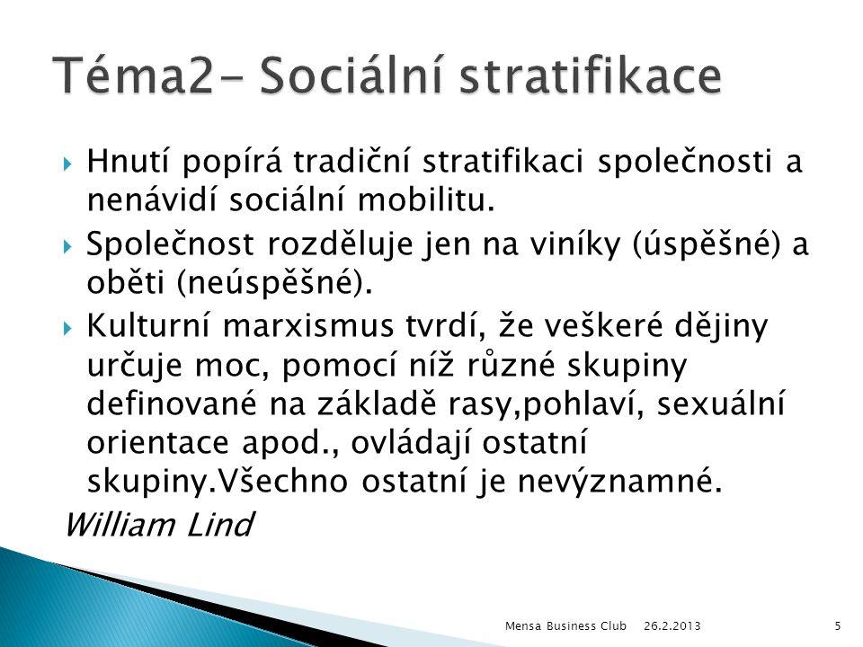  Hnutí popírá tradiční stratifikaci společnosti a nenávidí sociální mobilitu.