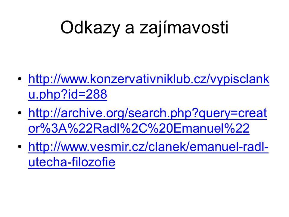 Odkazy a zajímavosti http://www.konzervativniklub.cz/vypisclank u.php?id=288http://www.konzervativniklub.cz/vypisclank u.php?id=288 http://archive.org/search.php?query=creat or%3A%22Radl%2C%20Emanuel%22http://archive.org/search.php?query=creat or%3A%22Radl%2C%20Emanuel%22 http://www.vesmir.cz/clanek/emanuel-radl- utecha-filozofiehttp://www.vesmir.cz/clanek/emanuel-radl- utecha-filozofie