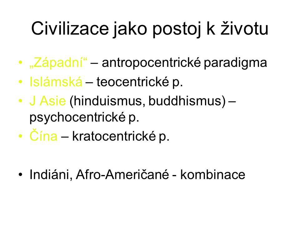 """Civilizace jako postoj k životu """"Západní – antropocentrické paradigma Islámská – teocentrické p."""