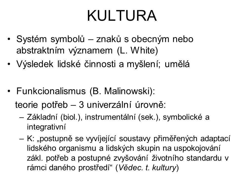 KULTURA Systém symbolů – znaků s obecným nebo abstraktním významem (L.