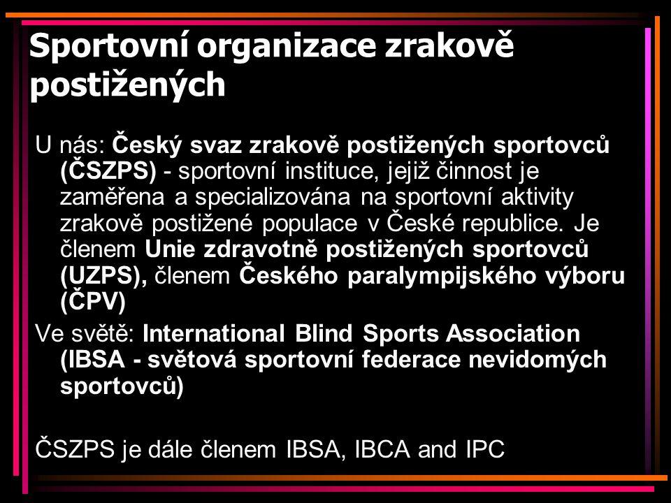 Sportovní organizace zrakově postižených U nás: Český svaz zrakově postižených sportovců (ČSZPS) - sportovní instituce, jejiž činnost je zaměřena a sp