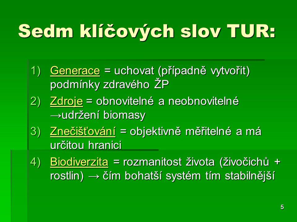5 Sedm klíčových slov TUR: 1)Generace = uchovat (případně vytvořit) podmínky zdravého ŽP 2)Zdroje = obnovitelné a neobnovitelné →udržení biomasy 3)Zne