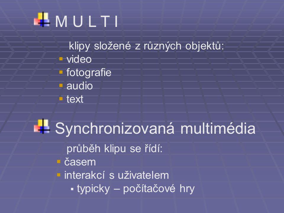 M U L T I S ynchronizovaná multimédia klipy složené z různých objektů:  video  fotografie  audio  text průběh klipu se řídí:  časem  interakcí s uživatelem  typicky – počítačové hry
