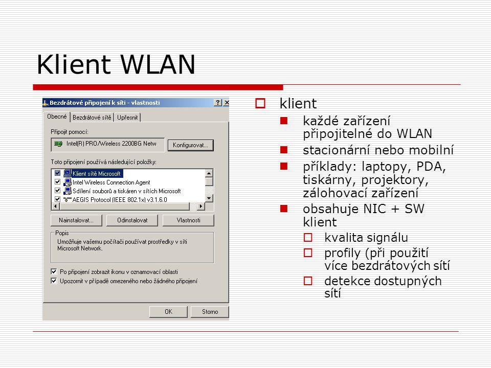 Klient WLAN  klient každé zařízení připojitelné do WLAN stacionární nebo mobilní příklady: laptopy, PDA, tiskárny, projektory, zálohovací zařízení obsahuje NIC + SW klient  kvalita signálu  profily (při použití více bezdrátových sítí  detekce dostupných sítí