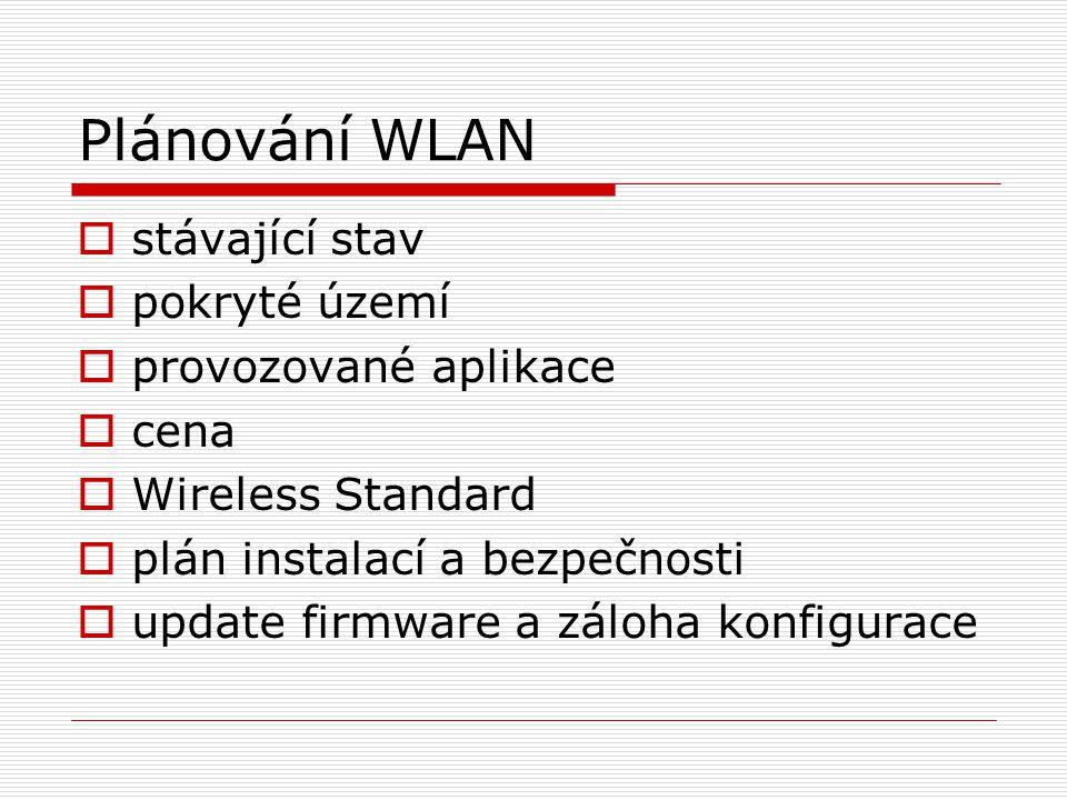 Plánování WLAN  stávající stav  pokryté území  provozované aplikace  cena  Wireless Standard  plán instalací a bezpečnosti  update firmware a z