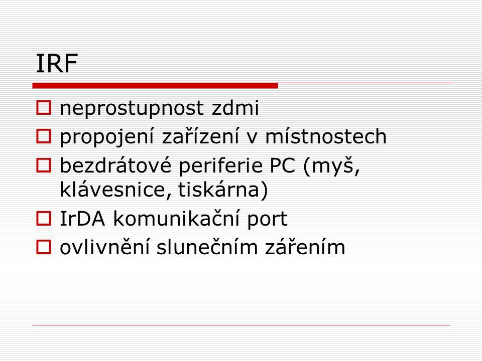 IRF  neprostupnost zdmi  propojení zařízení v místnostech  bezdrátové periferie PC (myš, klávesnice, tiskárna)  IrDA komunikační port  ovlivnění slunečním zářením