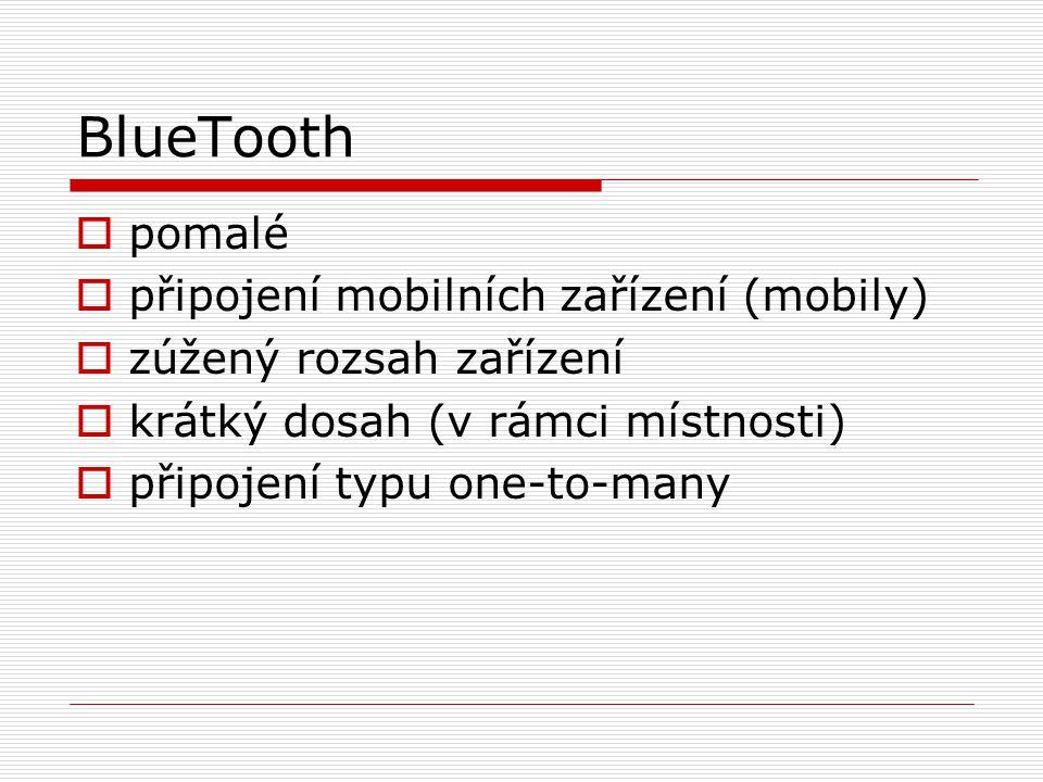 BlueTooth  pomalé  připojení mobilních zařízení (mobily)  zúžený rozsah zařízení  krátký dosah (v rámci místnosti)  připojení typu one-to-many