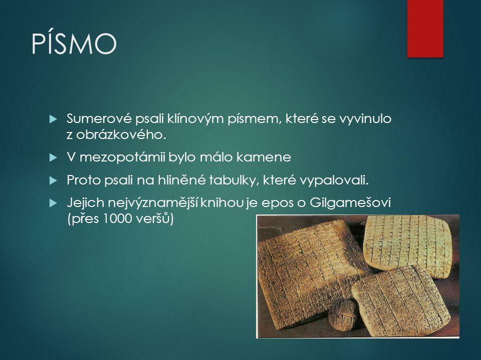 PÍSMO  Sumerové psali klínovým písmem, které se vyvinulo z obrázkového.  V mezopotámii bylo málo kamene  Proto psali na hliněné tabulky, které vypa