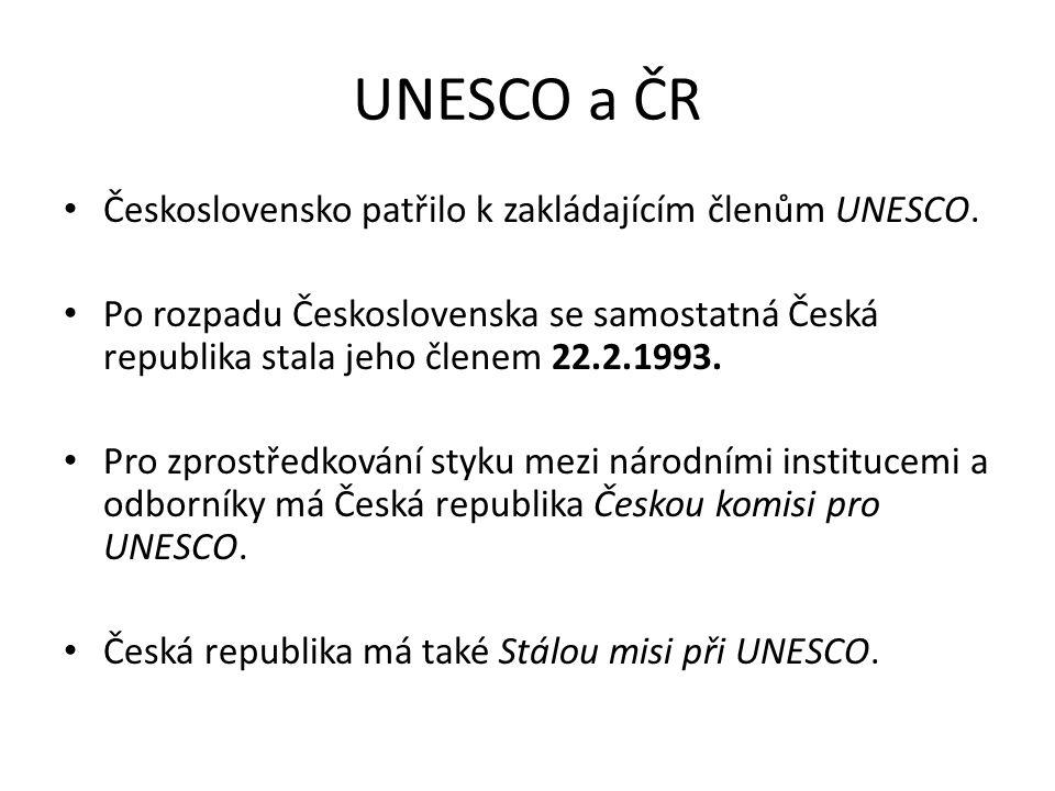 UNESCO a ČR Československo patřilo k zakládajícím členům UNESCO.