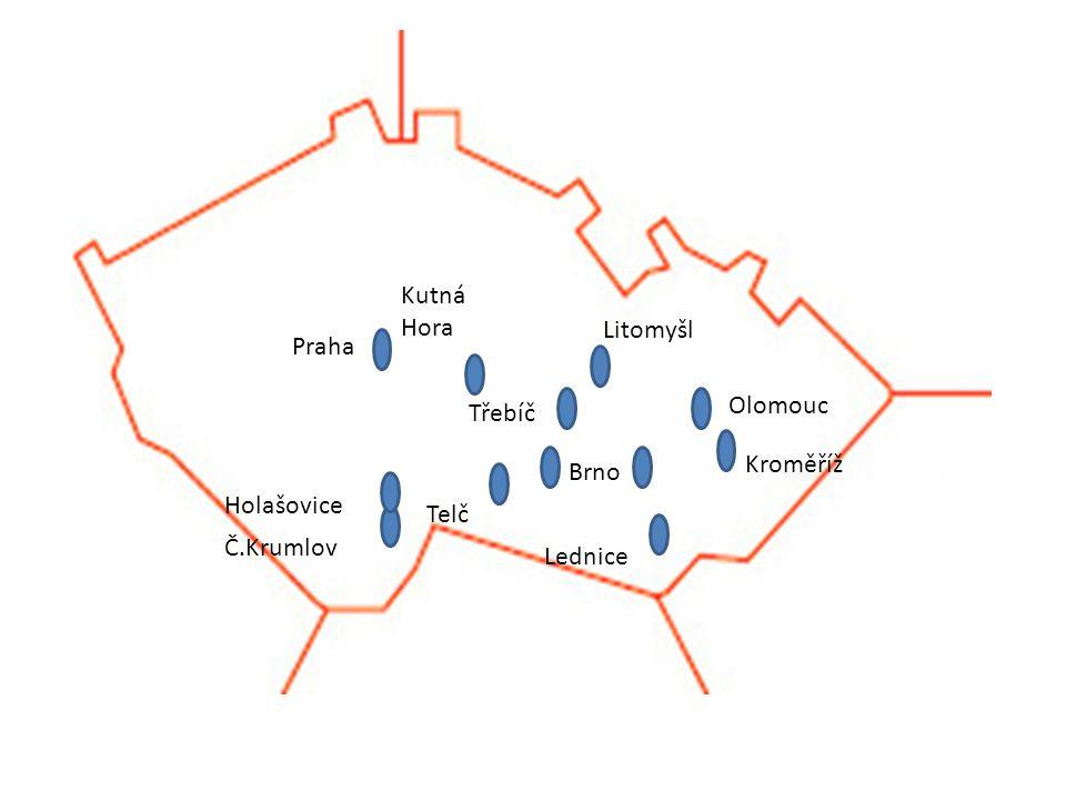 Praha Telč Olomouc Litomyšl Třebíč Kutná Hora Lednice Kroměříž Holašovice Č.Krumlov Brno