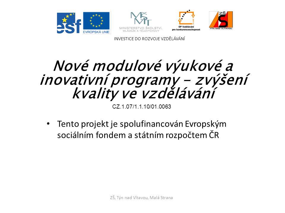 Tento projekt je spolufinancován Evropským sociálním fondem a státním rozpočtem ČR INVESTICE DO ROZVOJE VZDĚLÁVÁNÍ ZŠ, Týn nad Vltavou, Malá Strana Nové modulové výukové a inovativní programy - zvýšení kvality ve vzdělávání CZ.1.07/1.1.10/01.0063