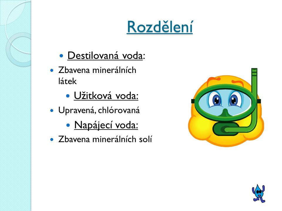 Rozdělení Měkká voda: obsahuje málo minerálních látek Tvrdá voda: obsahuje více minerálních látek, většinou z podzemních pramenů