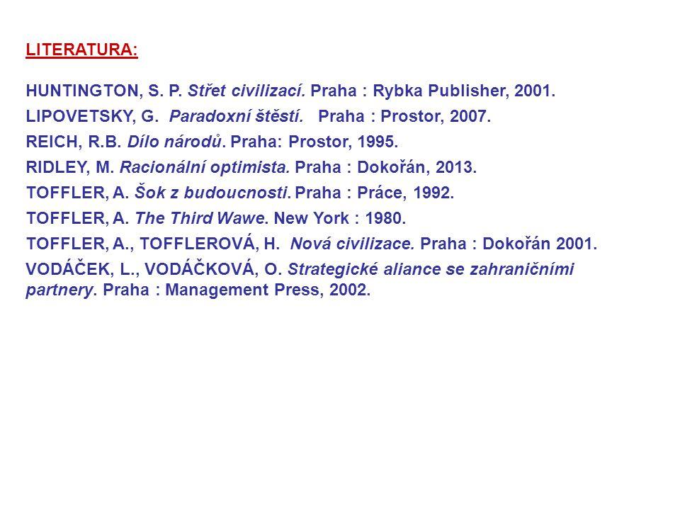LITERATURA: HUNTINGTON, S. P. Střet civilizací. Praha : Rybka Publisher, 2001. LIPOVETSKY, G. Paradoxní štěstí. Praha : Prostor, 2007. REICH, R.B. Díl